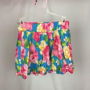 Hollister Blue and Pink Floral Skirt